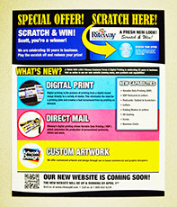 Riteways variable data printing flyer with clear dry ink on the Xerox CP1000. Riteway Business Forms new digital printing.